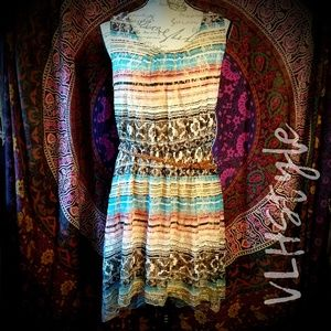 Fun Boho Stripe Pattern Tunic Dress w/Belt